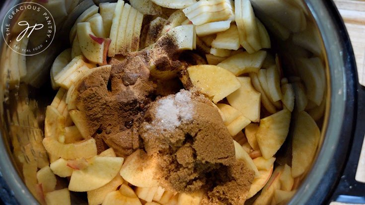 All the Amish Apple Butter Recipe ingredients in a pot.