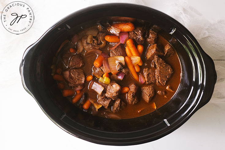 The Bison Stew cooking in a slow cooker.