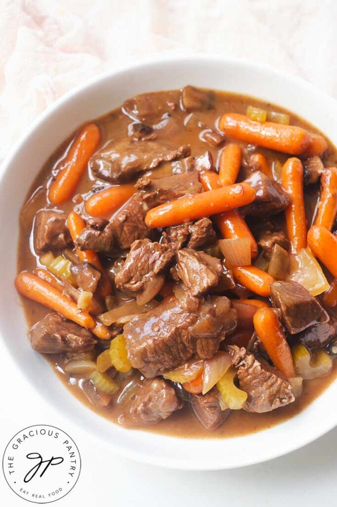 Bison Stew served in a white bowl.