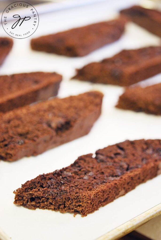 Cooling biscotti, just out of the oven.