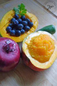 Blueberry Mango Salsa Recipe ingredients before chopping.
