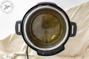 The oil warming in an Instant Pot.