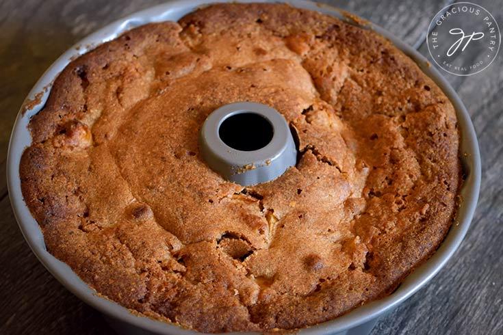 The baked Spiced Apple Bundt Cake cooling in the bundt pan.