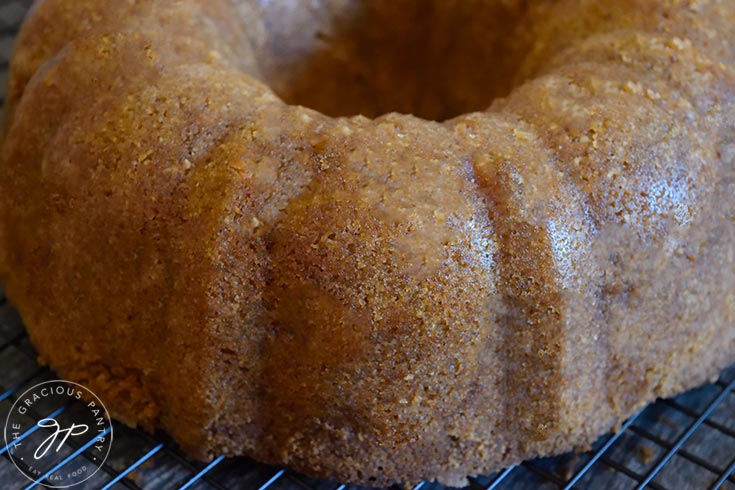 The cooling Spiced Apple Bundt Cake, just turned out of the pan.